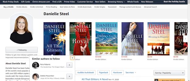 How to Write Like Danielle Steel Amazon Author Page Screenshot