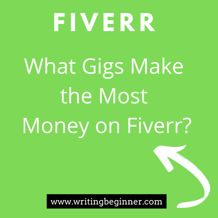"""Green block that says What Gigs Make the Most on Fiverr for my article, """"Can you actually make good money on Fiverr?"""""""