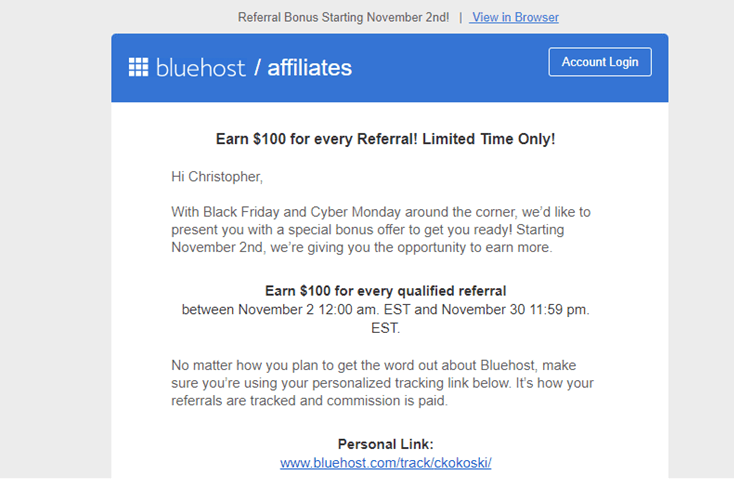 Bluehost affiliate promotion email