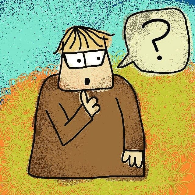 Confused cartoon guy image for Writing Conference Horror Stories post