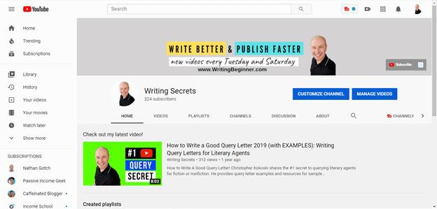 Screenshot of Writing Secrets YouTube Channel