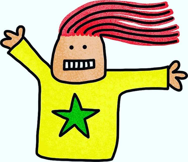Literary rockstar cartoon image for Writing Conference Horror Stories post