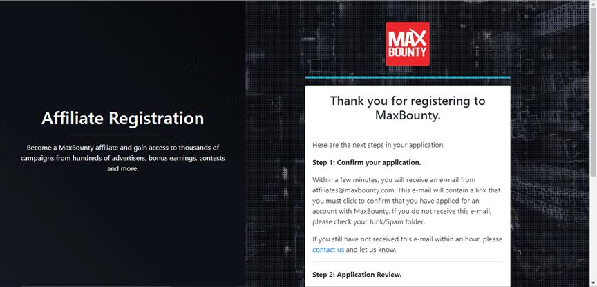MaxBounty Website Screenshot for Make 500 per Day post