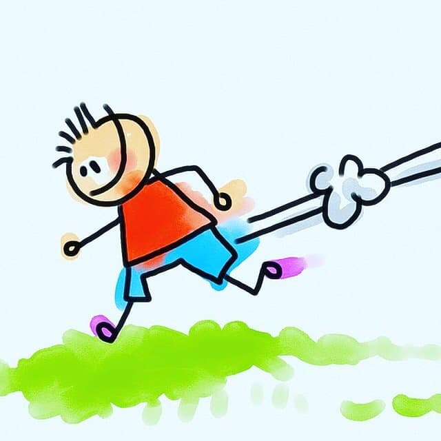 Running away cartoon image for Writing Conference Horror Stories post