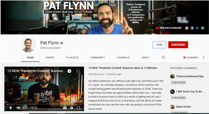 Screenshot of Pat Flynns YouTube Channel Page