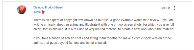 Screenshot of Quora Comment about Fair Use of Screenshots on Blogs