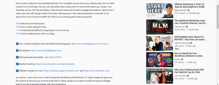 Screenshot of YouTube Video Description for Why Should Writer's Start a YouTube Channel