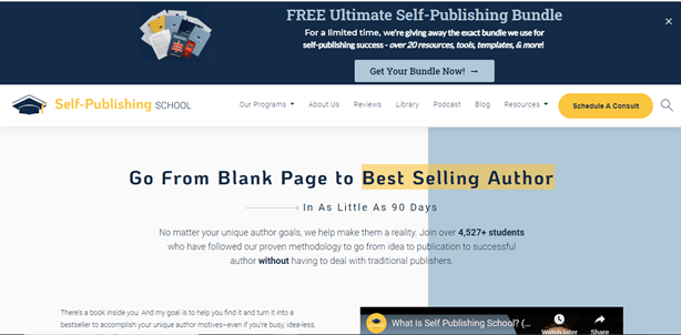 Self Publishing School Course for what courses to take to become a writer