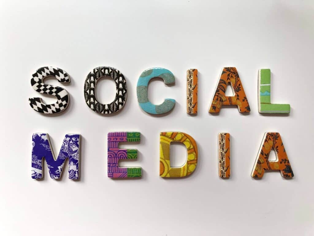 Social Media spelled out image for blog post is social media good or bad for writers