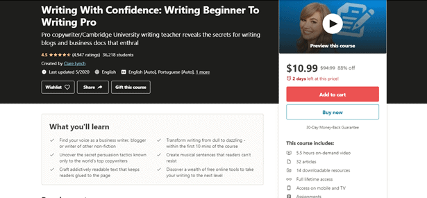 Udemy Writing Course Image for what courses to take to become a writer