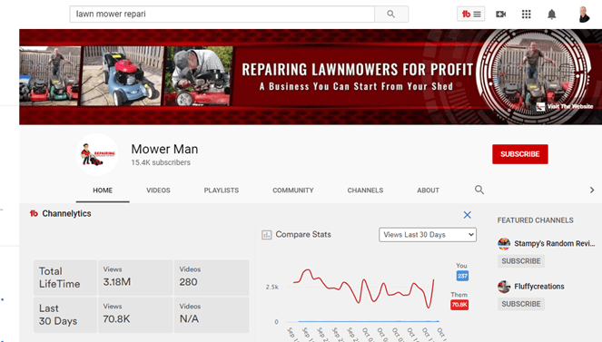 Why should writers start youtube videos screenshot of Mower Man Youtube Channel