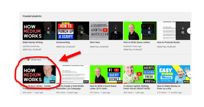 Why should writers start youtube videos screenshot of my top viewed Youtube video