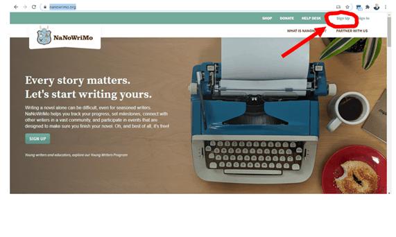 Writing Sprints NaNoWriMo website screenshot 1