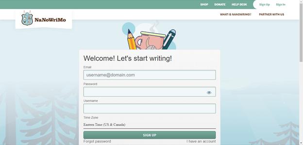 Writing Sprints NaNoWriMo website screenshot signup 2