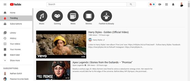 YouTube trending Screenshot for blog post