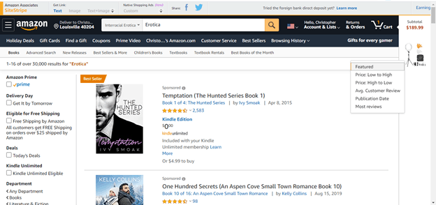 Amazon first page results Screenshot