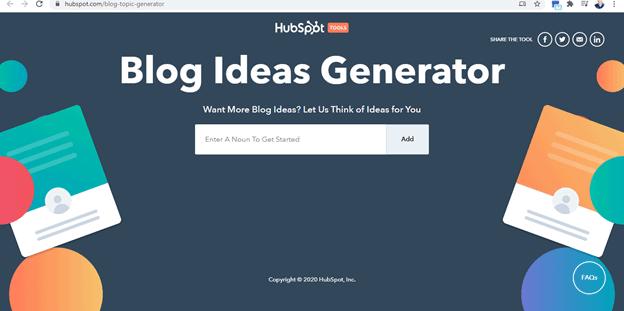 Hubspot's Blog Ideas Generator Snapshot