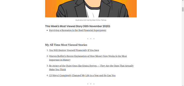 Can you make a full time income on Medium screenshot of article titles