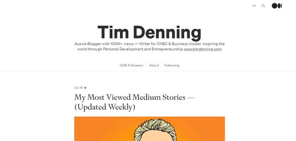 Can you make money on Medium Tim Denning case study profile image