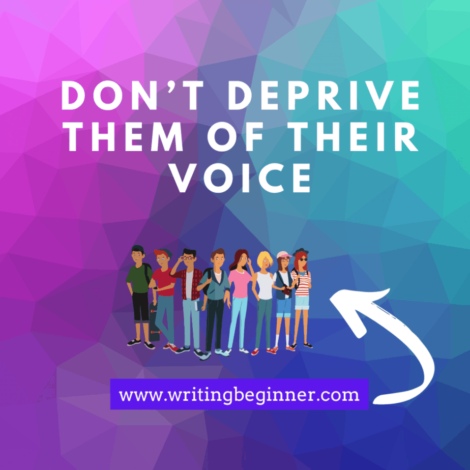 Don't Deprive Them of Their Voice Down Syndrome graphic for writing characters with Down Syndrome