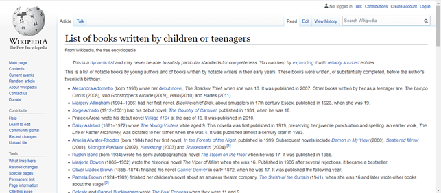 List of books written by teenages wikipedia
