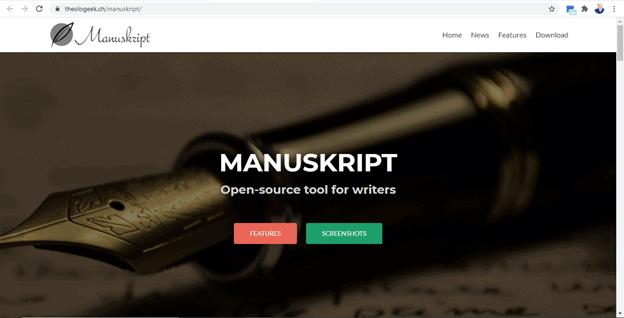 Manuskript website snapshot