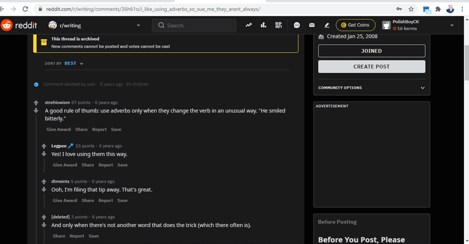 Reddit post about how to use adverbs screenshot