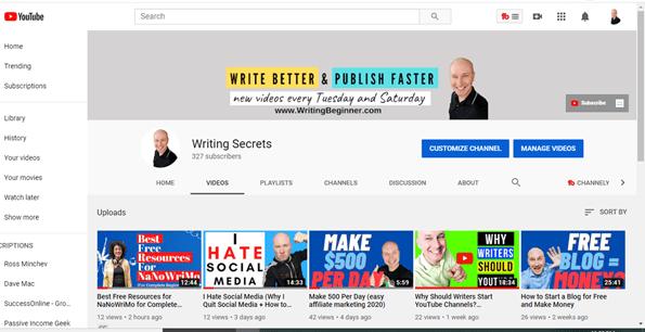 YouTube Channel Screenshot