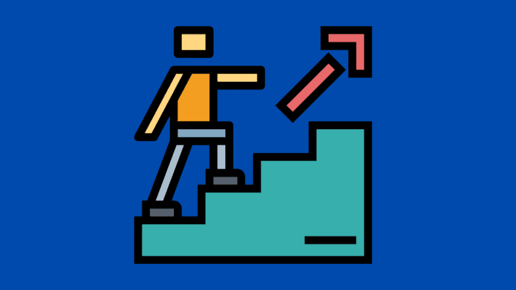 Cartoon of person walking up stairs for my How to Write an Editorial article