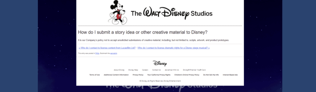 Screenshot of Disney rule not to accept unsolicited scripts for how to become a writer for Disney