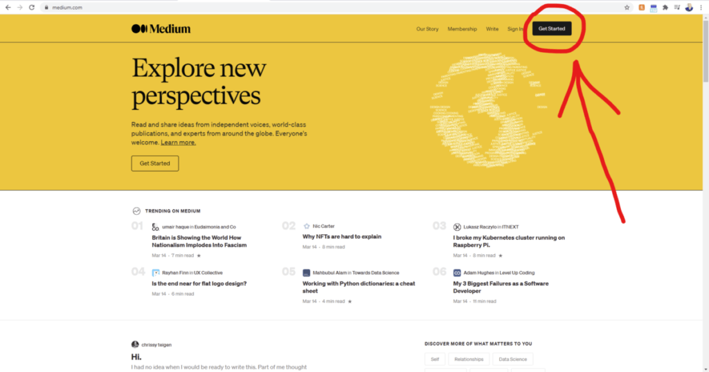 Screenshot of Medium Homepage with a red arrow pointing to the Get Started button for How to Start a Blog on Medium