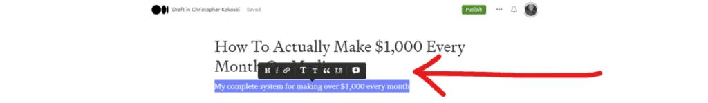 Screenshot of the Medium Editor