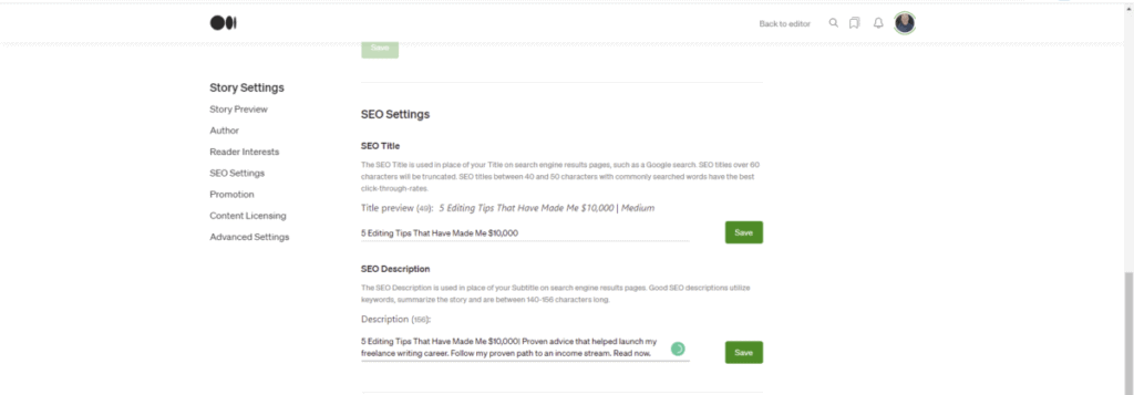 Screenshot of  choosing the title and description in SEO Settings