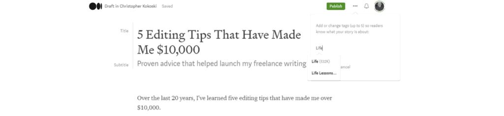 Screenshot of Adding Tags on Medium