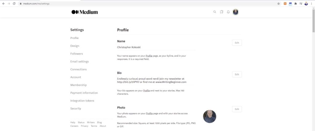 Screenshot of Author's Settings in Medium