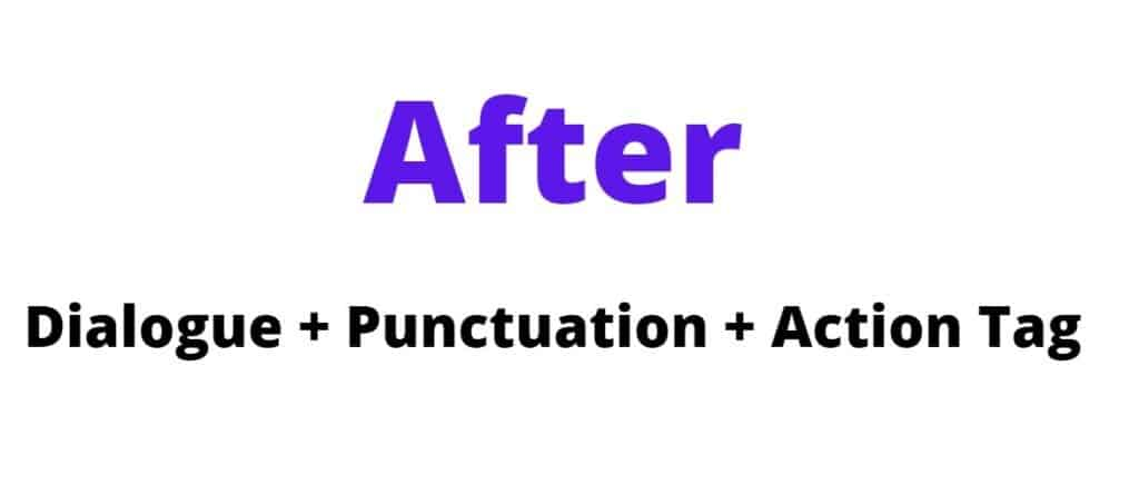 After action tag position formula (Dialogue + Punctuation + Action Tag)