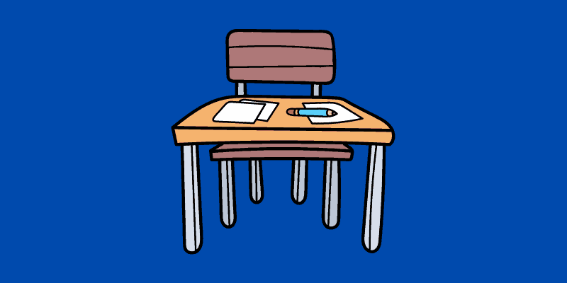 Cartoon image of a desk and chair for the best kids desk and chair for writing