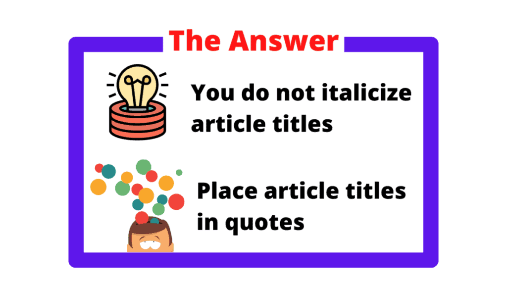 The Answer Box that answers the question Do you italicize article titles?
