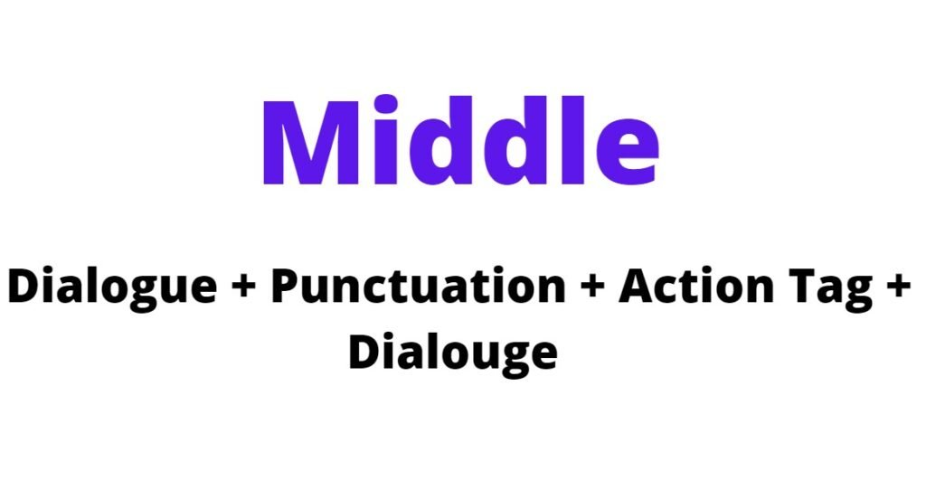 Middle action tag position formula (Dialogue + Punctuation + Action Tag + Dialogue