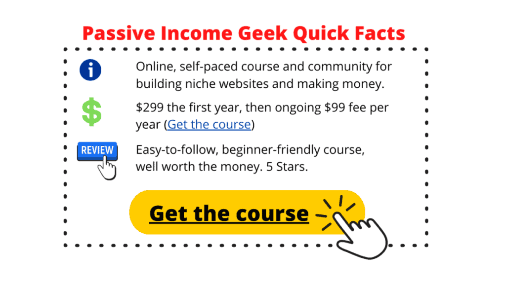 Passive Income Geek Quick Facts box with info, price, and review