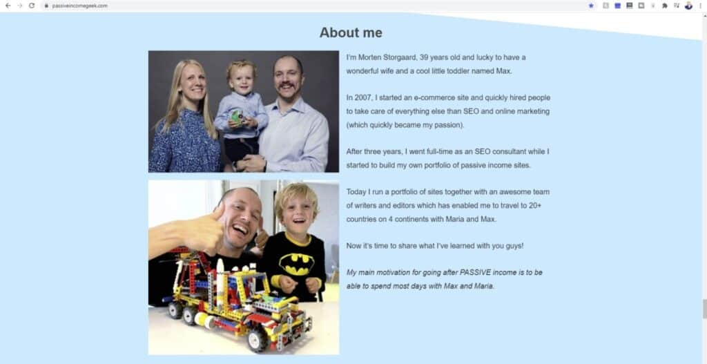 Screenshot of About Me section on Passive Income Geek website