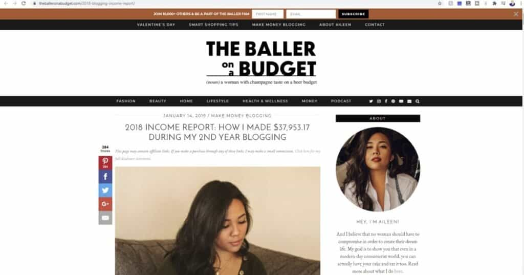Screenshot of Baller on a Budget website homepage for what is a beauty blog?