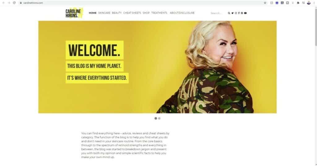 Screenshot of Caroline Hirons website