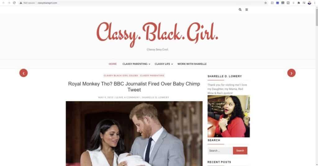 Screenshot of Classy Black Girl beauty blog website