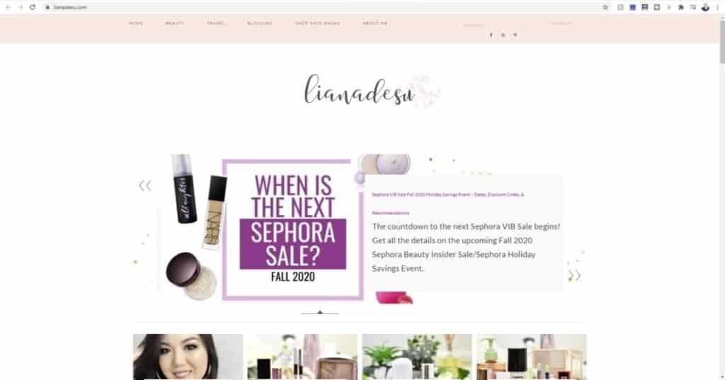 Screenshot of Liana Desu website for what is a beauty blog?