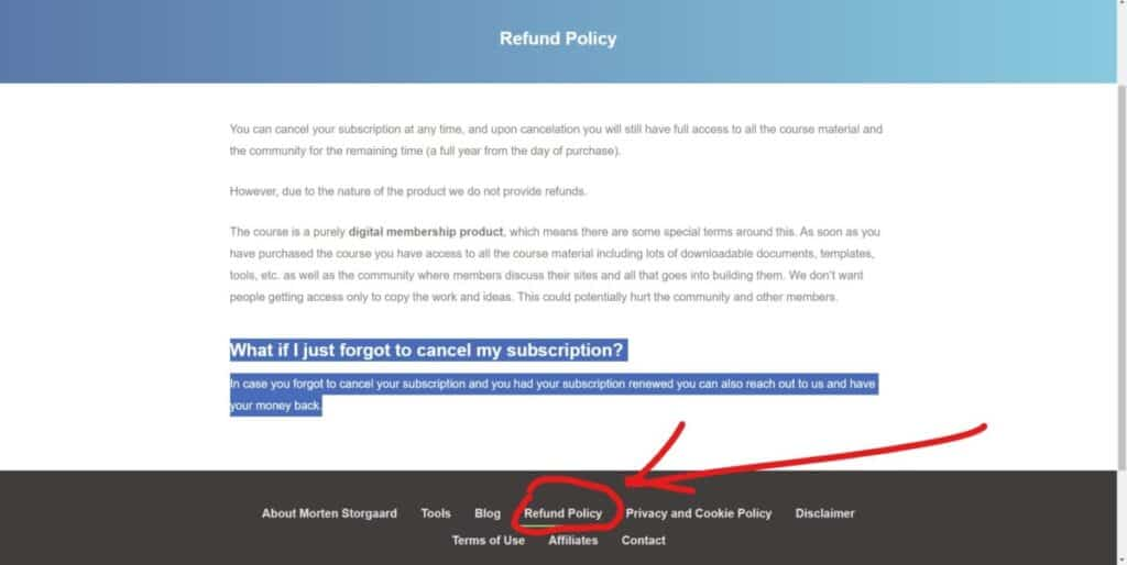 Screenshot of Refund Policy on PassiveIncomeGeek.com
