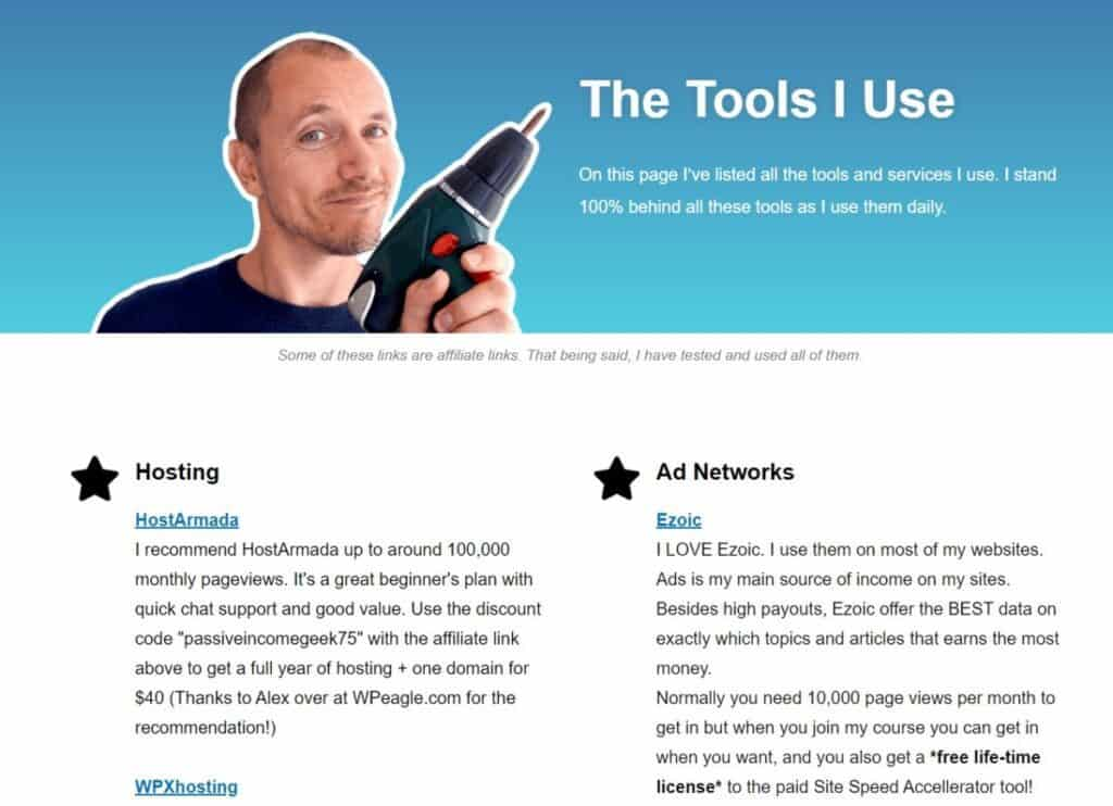 Screenshot of the Tools page from PassiveIncomeGeek.com