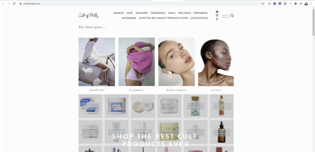 Screenshot of Cult of Pretty beauty blog website