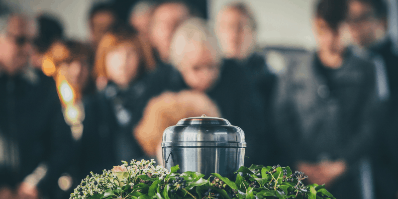 Close up of a urn at a funeral—Best Eulogy Writers
