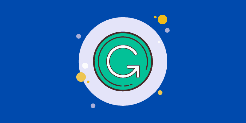 Grammarly logo against a blue background—Does Grammarly Steal Your Work